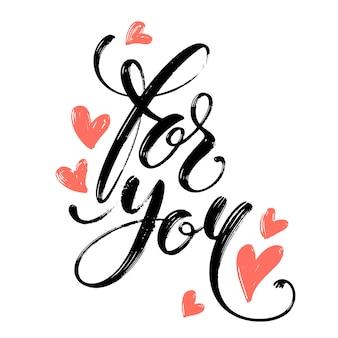 Voor u handgeschreven woorden met harten geïsoleerd op witte achtergrond.