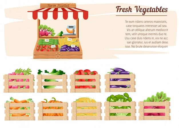Vooraanzicht markt houten stand met boerderijvoedsel en groenten in open doos met gewichten en prijskaartjes met plaats voor uw tekst illustratie op witte achtergrond