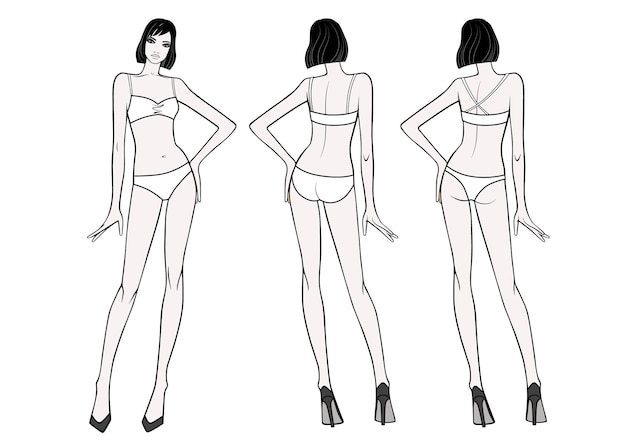 Vooraanzicht over de volledige lengte van een staande vrouw in zwempak