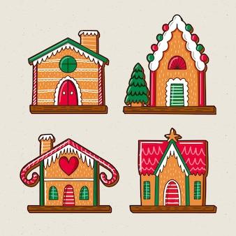 Vooraanzicht peperkoek huizen met schattige kleuren