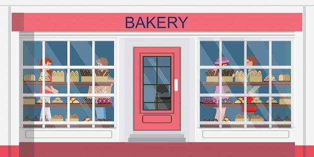 Vooraanzicht van de bakkerij of bakkerij winkel en mensen winkelen in de bakkerij.