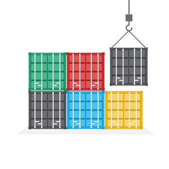 Vooraanzicht van een containerstapel, logistiek en vervoersconcept, illustratie.