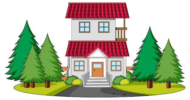 Vooraanzicht van een huis met natuurelementen op wit