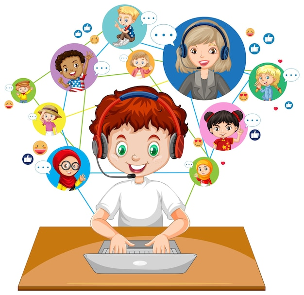 Vooraanzicht van een jongen die laptop gebruikt voor het communiceren van videoconferentie met leraar en vrienden op witte achtergrond