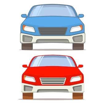 Vooraanzicht van een rode en blauwe auto