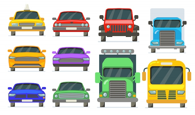 Vooraanzicht van geplaatste voertuigen