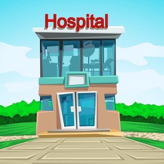 Vooraanzicht van het ziekenhuis