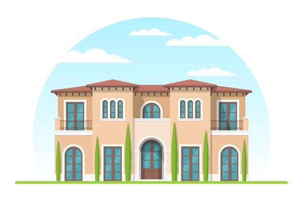 Vooraanzicht van mediterrane stijl privéhuis in de voorsteden