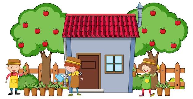 Vooraanzicht van mini huis met veel kinderen op witte achtergrond