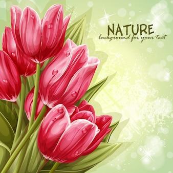 Voorbeeld achtergrondboeket van roze tulpen voor uw tekst