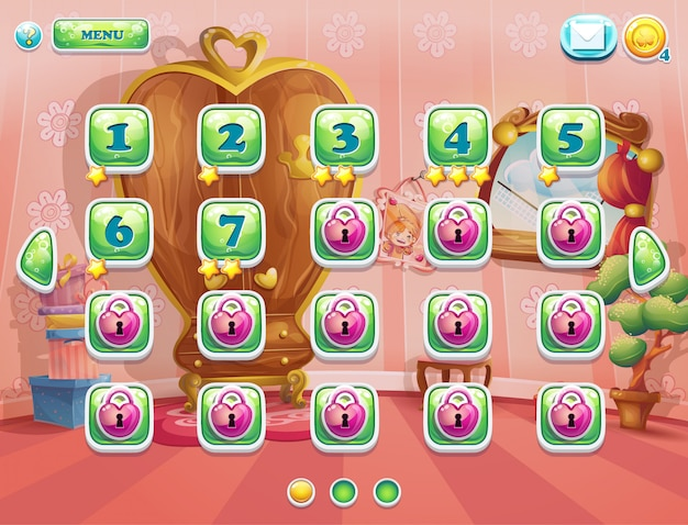 Voorbeeld van de spelvensterniveaus voor computerspellen