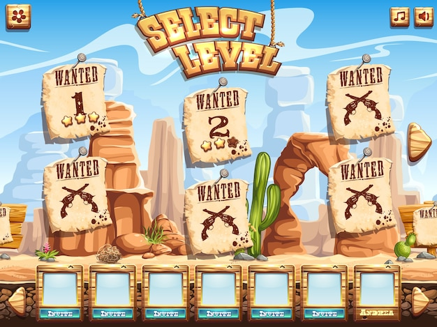 Voorbeeld van een levelkeuzescherm voor het computerspel wild west