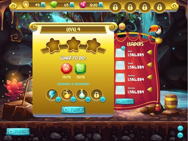 Voorbeeld van gebruikersinterface van een computerspel, een scherm om doorgangsniveau te specificeren