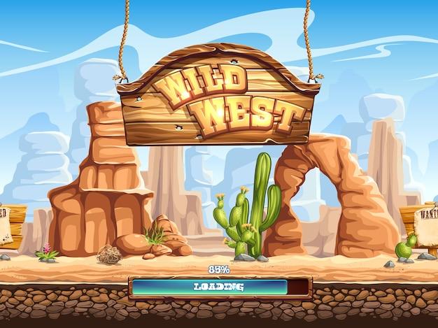 Voorbeeld van het laadscherm voor een computerspel wild west