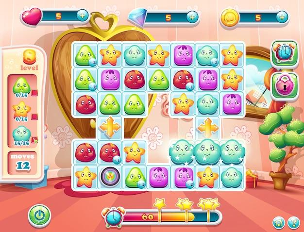 Voorbeeld van het speelveld en de gebruikersinterface voor het spel