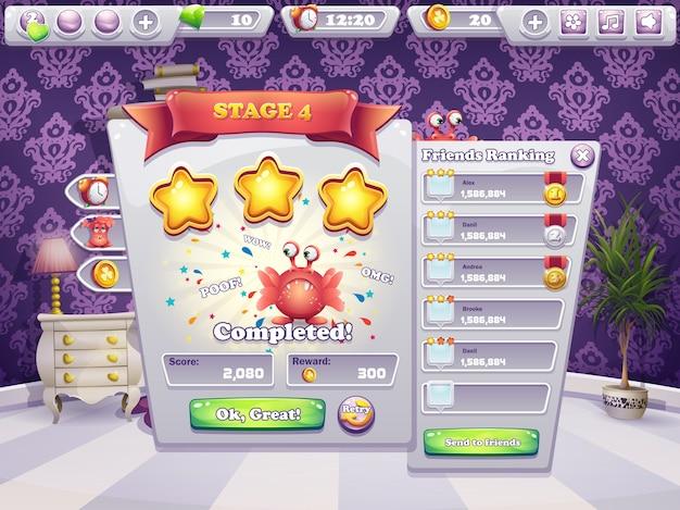 Voorbeeld van het voltooien van het niveau in een computerspel monsters