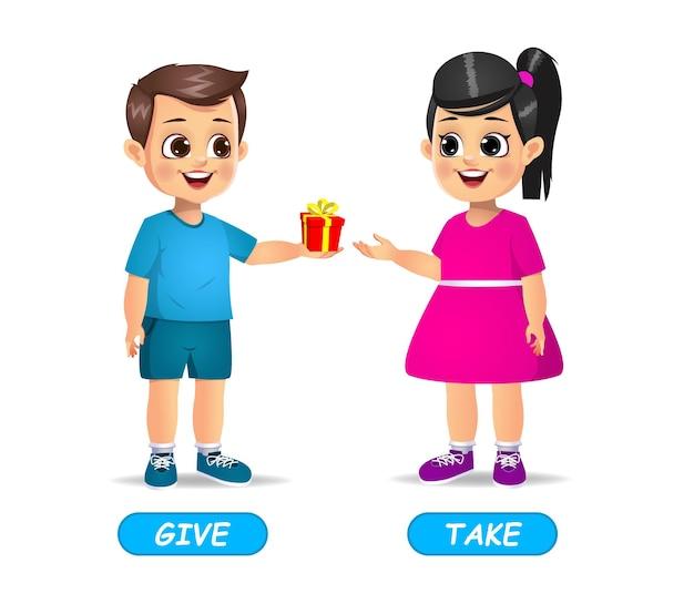 Voorbeeld van tegenovergestelde bijvoeglijke naamwoorden voor kinderen. geïsoleerd op wit