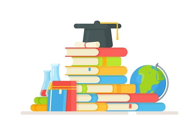 Voorbereiden op examens. illustratie van het nemen van een test. je huiswerk maken. boeken lezen.