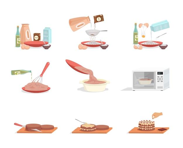 Voorbereiding van zoete smakelijke verjaardagstaart stap voor stap vector