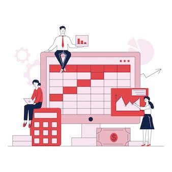 Voorbereiding voor boekhoudkundige rapport platte vectorillustratie