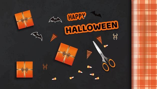 Voorbereiding voor de viering van halloween. fijne halloween. tafel met geschenken voor halloween-weergave van bovenaf. vector illustratie