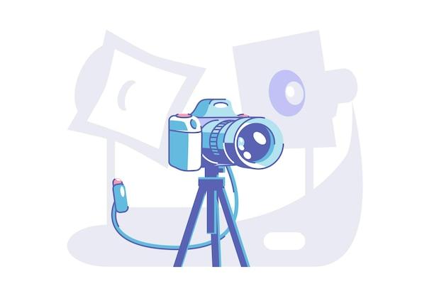 Voorbereiding voor professionele fotoshoot vectorillustratie. camera staande op statief vlakke stijl. speciale uitrusting voor model. modern technologisch concept