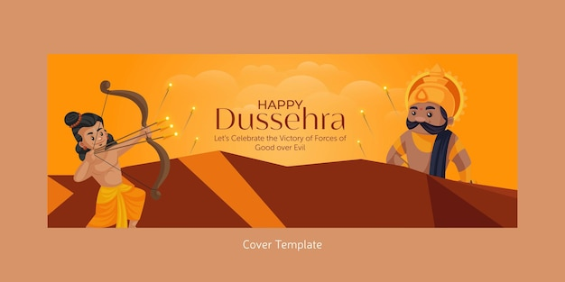 Voorblad van indiase festival happy dussehra cartoon stijlsjabloon