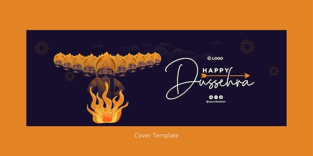 Voorblad van indiase festival happy dussehra-sjabloon