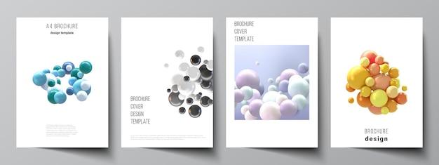 Voorbladsjabloon met veelkleurige 3d-bollen, bubbels, ballen.