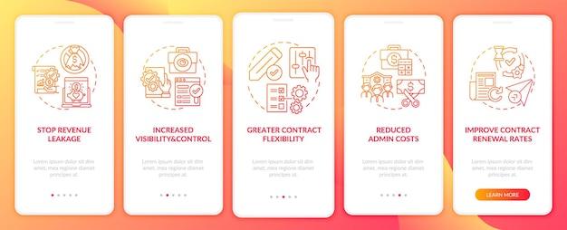 Voordelen van automatisering van contractbeheer bij het onboarding van het paginascherm van de mobiele app met concepten