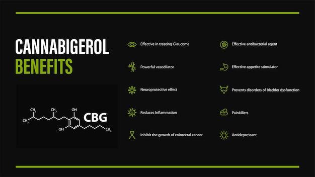 Voordelen van cannabigerol, zwarte poster in minimalistische stijl met infographic en cannabidiol chemische formule