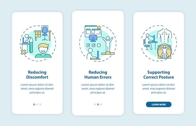 Voordelen van het ergonomische ontwerp bij het onboarding van het paginascherm van de mobiele app met concepten