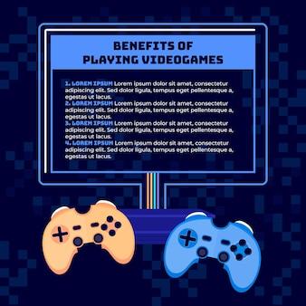 Voordelen van het spelen van videogame infographic sjabloon