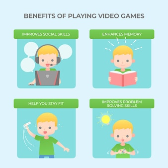 Voordelen van het spelen van videogames infographic sjabloon