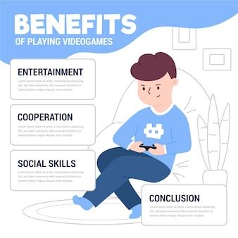 Voordelen van het spelen van videogamesjabloon met gamer