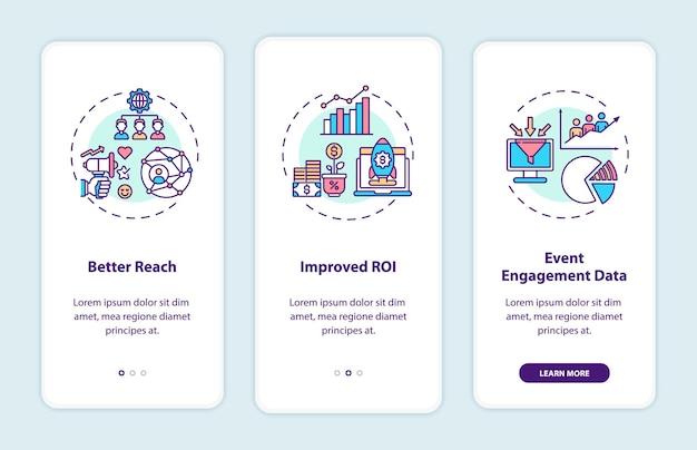 Voordelen van hybride evenementen bij het onboarding van het paginascherm van de mobiele app met concepten