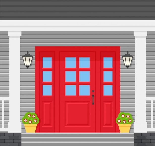 Voordeur, portiekwoning. illustratie in plat ontwerp.