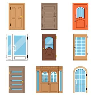 Voordeuren, collectie vintage en moderne deuren naar huizen en gebouwen vectorillustraties
