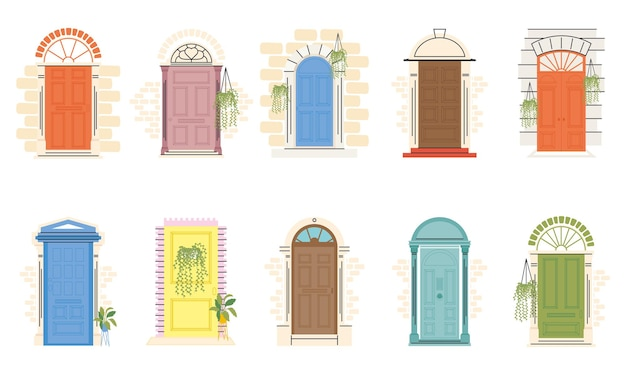 Voordeuren met planten symbool collectie ontwerp, huis huis ingang decoratie gebouw thema vectorillustratie