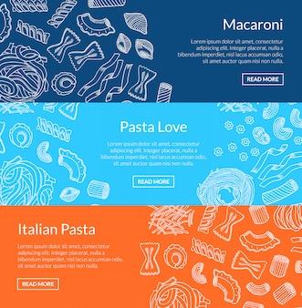 Voorgevormde hand getrokken pasta horizontale banner sjablonen