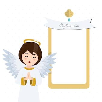 Voorgrond biddende engel. doopseluitnodiging met bericht. flat vector illustratie