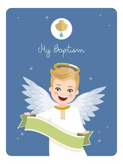 Voorgrond engel met lint. doopselherinnering op blauwe hemel. flat vector illustratie