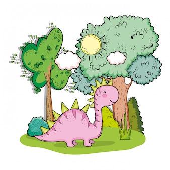 Voorhistorisch de dinadier van saltasaurus met bomen