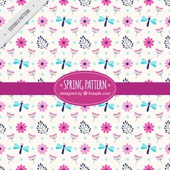 Voorjaar patroon met bloemen en libellen