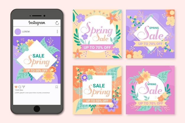 Voorjaar promotionele verkoop instagram post
