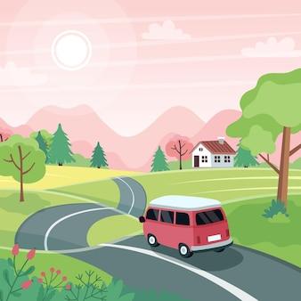 Voorjaars roadtrip. landschap met een schattige auto op de weg. in platte stijl