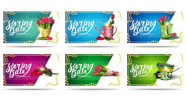 Voorjaarsuitverkoop, grote collectie moderne kleurrijke kortingsbanners