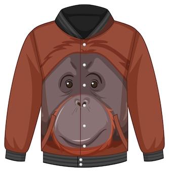 Voorkant bomberjack met orang-oetanpatroon