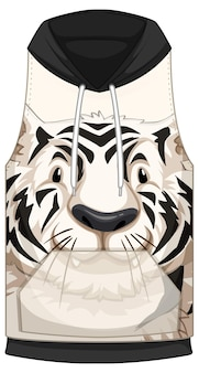 Voorkant hoodie mouwloos met wit tijgerpatroon