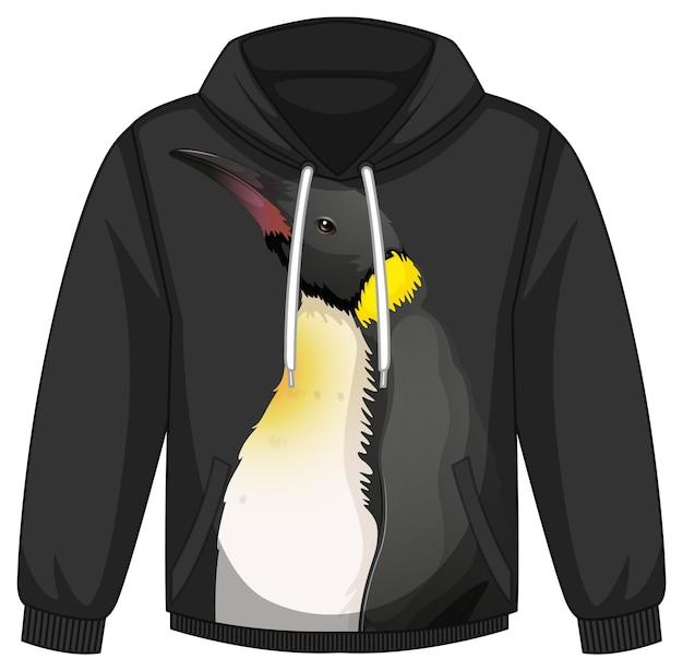 Voorkant hoodie trui met pinguïn patroon